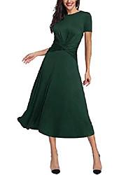 cheap -women's tummy control dress round neck short sleeve midi semiformal casual party fit flare maxi dress