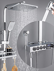 cheap -Shower System / Rainfall Shower Head System / Thermostatic Mixer valve Set - Handshower Included pullout Rainfall Shower Contemporary Electroplated Mount Outside Ceramic Valve Bath Shower Mixer Taps