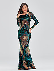 cheap -Mermaid Trumpet Elegant Sparkle Party Wear Formal Evening Dress Jewel Neck Long Sleeve Floor Length Sequined with Sequin 2020