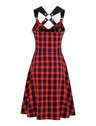 cheap -Women's Strap Dress Knee Length Dress Red Sleeveless Print Backless Zipper Patchwork Summer Halter Neck Vintage 2021 S M L XL XXL 3XL