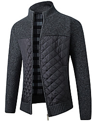 cheap -Men's Color Block Cardigan Long Sleeve Sweater Cardigans Stand Collar Black Light gray Dark Gray