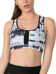 cheap -Women's Sports Bra Medium Support Summer Removable Pad Wireless Floral Print Black with White Yoga Fitness Running Top Sport Activewear Breathable Quick Dry Comfortable Freedom Micro-elastic / Winter