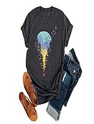 cheap -hot air balloon adventure graphic t shirt women causal short sleeve vintage tee tops grey