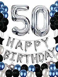 cheap -50th birthday decorations,50 birthday balloons party supplies happy 50 birthday banner blue and silver black foil star balloons for women men(81pcs)