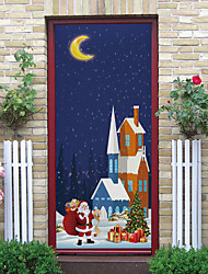cheap -Christmas Gift Self-adhesive Creative Door Stickers Living Room Diy Decoration Home Waterproof Wall Stickers