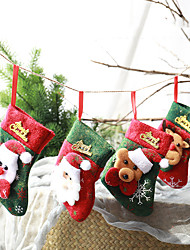 cheap -Christmas Toys Ornaments Christmas Holiday Stockings Christmas Hanging Bags Bear Santa Claus Gift Decoration Party Favors Felt 4 pcs Kid's Adults 12*10cm Christmas Party Favors Supplies