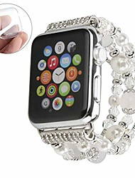 cheap -compatible with white apple watch band 38mm 40mm women agate pearl bracelet strap, fashion handmade elastic replacement for iwatch bands series 5/4/3/2/1 girls wristband (silver 38mm)