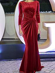 cheap -Sheath / Column Celebrity Style Minimalist Wedding Guest Formal Evening Dress Jewel Neck 3/4 Length Sleeve Sweep / Brush Train Velvet with Draping 2021