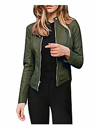 cheap -Women's Faux Leather Jacket Street Fall Winter Regular Coat Regular Fit Windproof Fashion Basic Casual Jacket Long Sleeve Solid Color Zipper Navy Wine Red Spring Holiday
