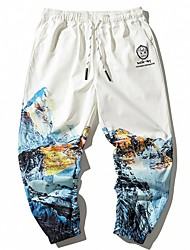 cheap -Men's Sporty Outdoor Slim Casual Sweatpants Pants Print Full Length High Waist White / Drawstring