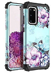 cheap -compatible galaxy s20 case,floral three layer heavy duty hybrid sturdy shockproof full body protective cover case for samsung galaxy s20 6.2 inch,blue flower