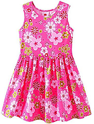 cheap -kids girls sleeveless quick-drying elastic dress floral swing party summer sundress (4t/tag 110-116) red
