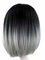 cheap -inkach clearance short straight wig, womens ombre grey bob wig synthetic fiber hair wig heat resistant (multicolor)