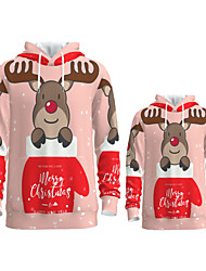 cheap -Daddy and Me Active Santa Claus Graphic 3D Print Animal Print Long Sleeve Regular Hoodie & Sweatshirt Blushing Pink