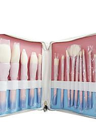 cheap -New 14pcs pink gradient color set brush makeup brush wooden handle makeup brush tool supply