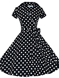 cheap -50 60s vintage swing rockabilly party dress black with white dots m