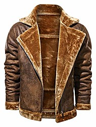 cheap -men's classic winter warm thicken coat pu turn-down collar sherpa fleece lined parka long sleeve fuzzy shirt casual cargo bomber trucker jacket outwear outerwear sweatshirt pullover