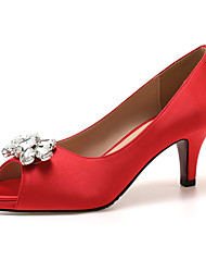 cheap -Women's Heels High Heel Peep Toe Classic Sexy Sweet Daily Office & Career Rhinestone Solid Colored Satin Almond / White / Black