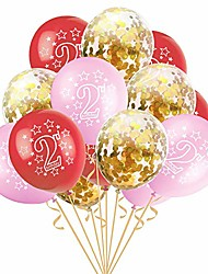 cheap -15pcs boy girl 2nd happy birthday latex balloons happy second birthday party for baby shower kids 2 years old birthday party supplies (pink-gold)