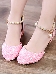cheap -Girls' Heels Moccasin Flower Girl Shoes Princess Shoes Patent Leather PU Little Kids(4-7ys) Big Kids(7years +) Daily Party & Evening Walking Shoes Rhinestone Buckle Sequin Pink Silver Fall Spring
