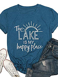 cheap -the lake is my happy place t shirt women lake life shirt summer vacation short sleeve casual tee top blue