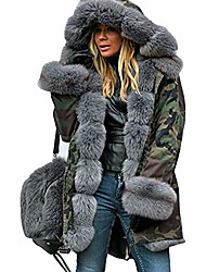cheap -womens coats ski jackets plus size camo fluffy fuzzy faux fur hooded cuff casual loose warm padded parkas autumn winter