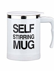 cheap -automatic mug one-button electric stirring cup - coffee milk stirring cup - stainless steel juice mixing cup with lid (white)