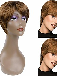 cheap -beauty short pixie cut straight wigs with bangs natural synthetic heat resistant fiber hair wigs for women with cap wig (strawberry blonde)