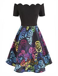 cheap -Women's A-Line Dress Knee Length Dress - Short Sleeve Print Print Fall Vintage 2020 Black S M L XL XXL
