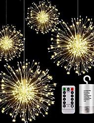 cheap -4packs LED Hanging Starburst String Lights DIY Firework Outdoor String Lights 150 LED 2packs 1pack Copper Fairy Garland Christmas Lights Waterproof Multiple Modes Outdoor Twinkle Light