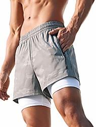 cheap -men's 4 inches running athletic shorts 2-in-1 zipper pockets(grey l(xxxl))