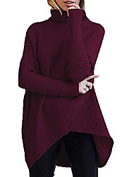 cheap -women turtle cowl neck batwing long sleeve asymmetric hem pullover sweater jumpers ribbed knit tops wine red small a8cb7-jiuhong-s
