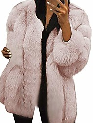 cheap -women plus size short faux fur coat warm furry jacket long sleeve outerwear (pink, xxxxl)