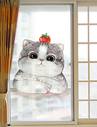 cheap -Frosted Privacy Cartoon Cute Cat Pattern Window Film Home Bedroom Bathroom Glass Window Film Stickers Self Adhesive Sticker 60*116cm
