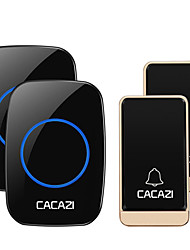 cheap -CACAZI Self-powered Wireless Doorbell Waterproof No battery 38 Chimes Cordless DoorBell 2 Button 2 Receiver