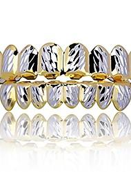 cheap -18k gold plated hip hop diamond cut rugged 8 teeth top and bottom grillz set (gold&silver)