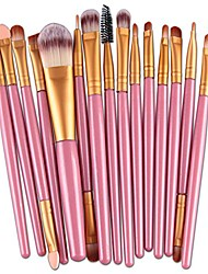 cheap -15 pcs makeup set professional eye shadow eyeliner eyebrow foundation blush lip cosmetic brush makeup brushes tool (pink)