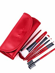 cheap -7-piece beauty brush set - travel makeup brush set box, professional foundation makeup brush eye shadow brush lip brush foundation cream blend,red