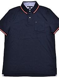 cheap -mens custom fit interlock pocket polo shirt (medium, navy blue)