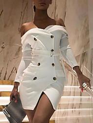 cheap -Women's A Line Dress Short Mini Dress White Long Sleeve Solid Color Button Summer Strapless Sexy 2021 S M L XL