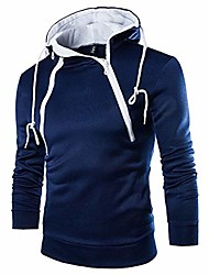 cheap -men's autumn winter fashion patchwork hoodie hooded sweatshirt top outwear blouse(navy, us s/tag l)