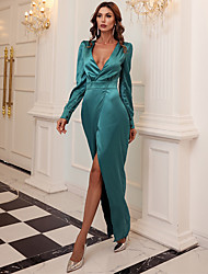 cheap -Sheath / Column Minimalist Sexy Prom Formal Evening Dress V Neck Long Sleeve Ankle Length Spandex with Split 2020
