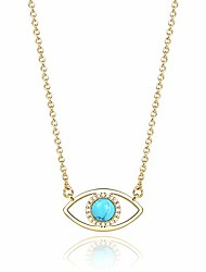 cheap -14k gold natural turquoise stone evil eye pendant necklace jewelry for women