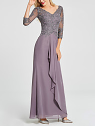 cheap -Sheath / Column Mother of the Bride Dress Elegant Sparkle & Shine V Neck Floor Length Chiffon Lace 3/4 Length Sleeve with Sequin Draping Appliques 2020