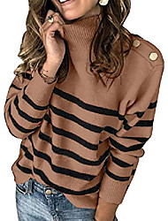 cheap -womens lightweight turtle neck striped pullover sweater casual button jumper design fashion 2020 ladies sweater khaki l
