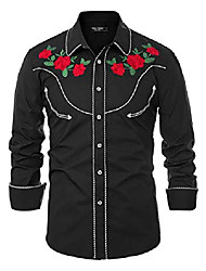 cheap -men's cowboy embroidered shirts slim fit casual button down shirt black, xx-large