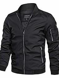cheap -men's lightweight bomber jacket loose fit softshell windbreaker thin coat black