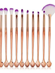 cheap -10 pcs shell makeup brush set powder eyeshadow concealer cosmetic make up tool foundation natural beauty palettes grand popular eyes face colorful rainbow hair highlights glitter travel kit, type-07