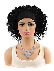 cheap -14 inch Black Deep Volume Wig Headgear Short African Wig Hair With Turban Wig Headgear Black Ladies Fluffy Wig
