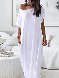 cheap -Women's Shift Dress Maxi long Dress White Beige Short Sleeve Print Butterfly Animal Pocket Spring Summer Round Neck Casual Loose 2021 S M L XL